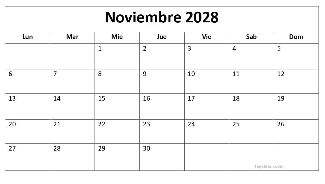 Calendario Noviembre 2028