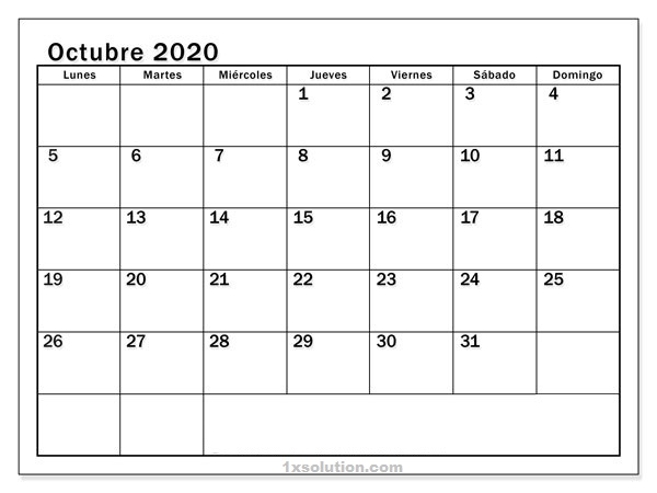 Calendario Octubre 2020 Argentina Con Festivos