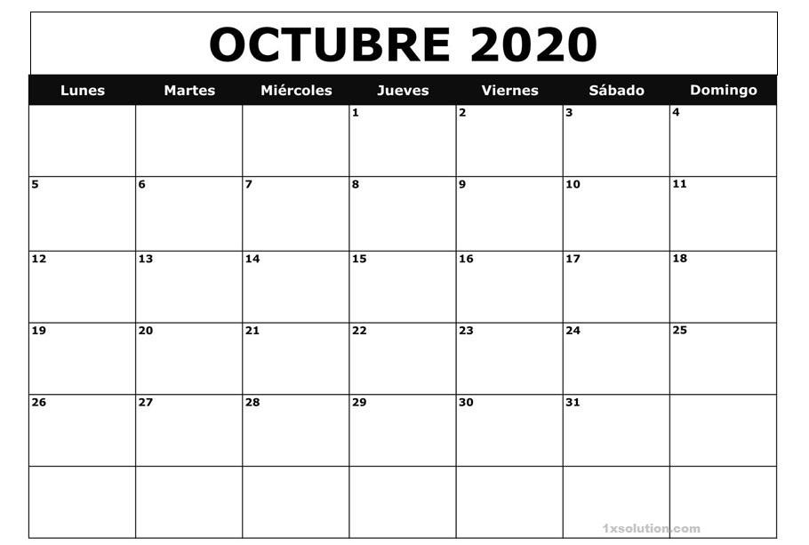 Calendario Octubre 2020 Argentina Excel