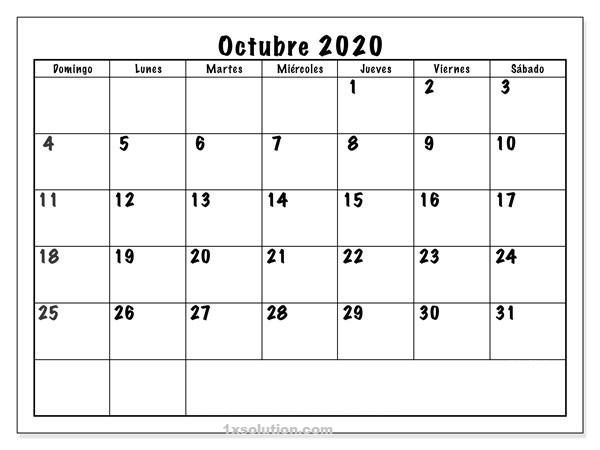 Calendario Octubre 2020 Argentina Imprimible