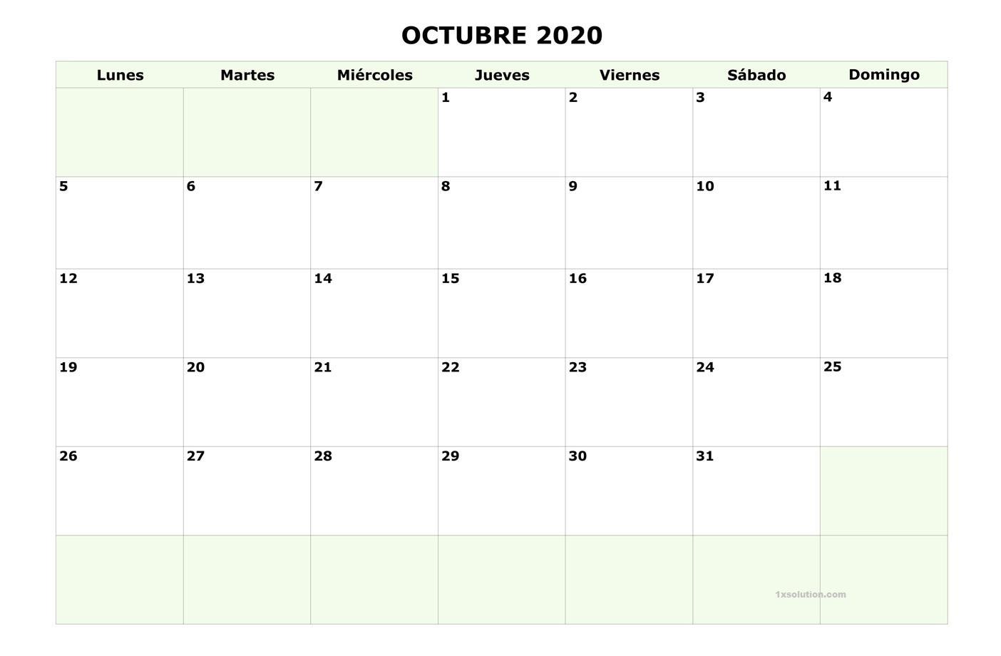 Calendario Octubre 2020 Argentina PDF