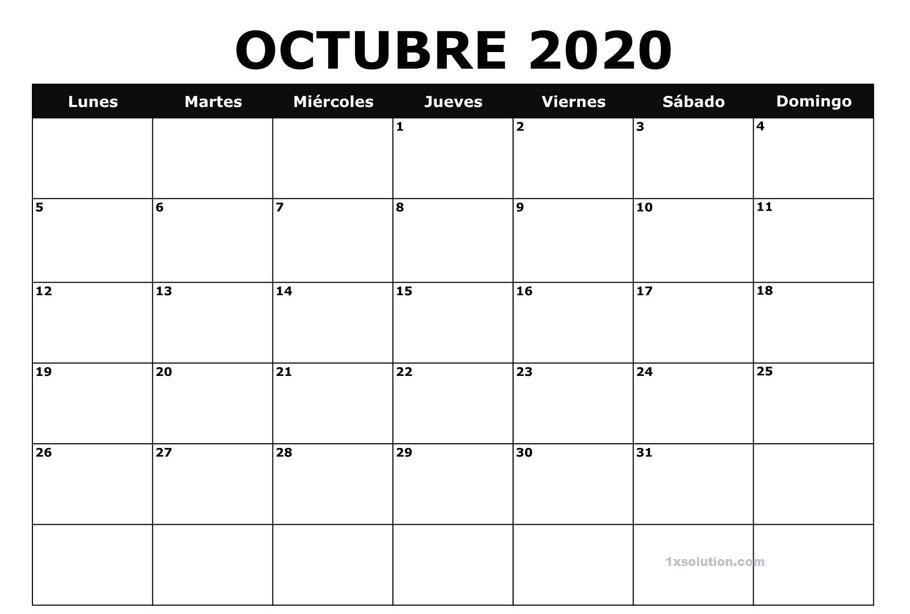 Calendario Octubre 2020 Argentina