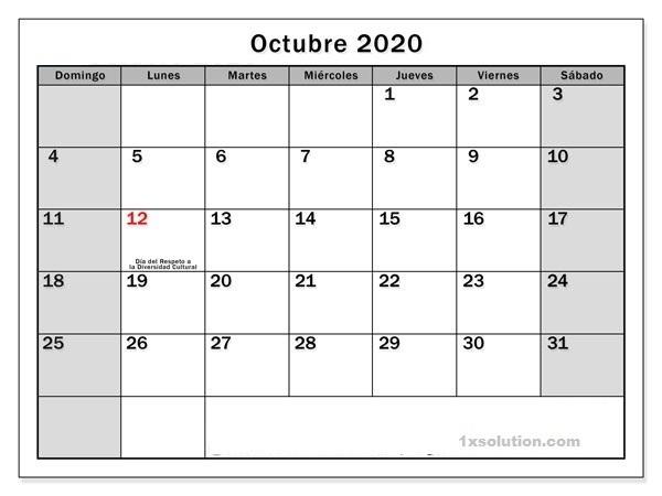 Calendario Octubre 2020 Chile Con Festivos