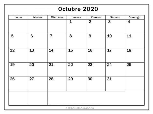 Calendario Octubre 2020 Chile PDF