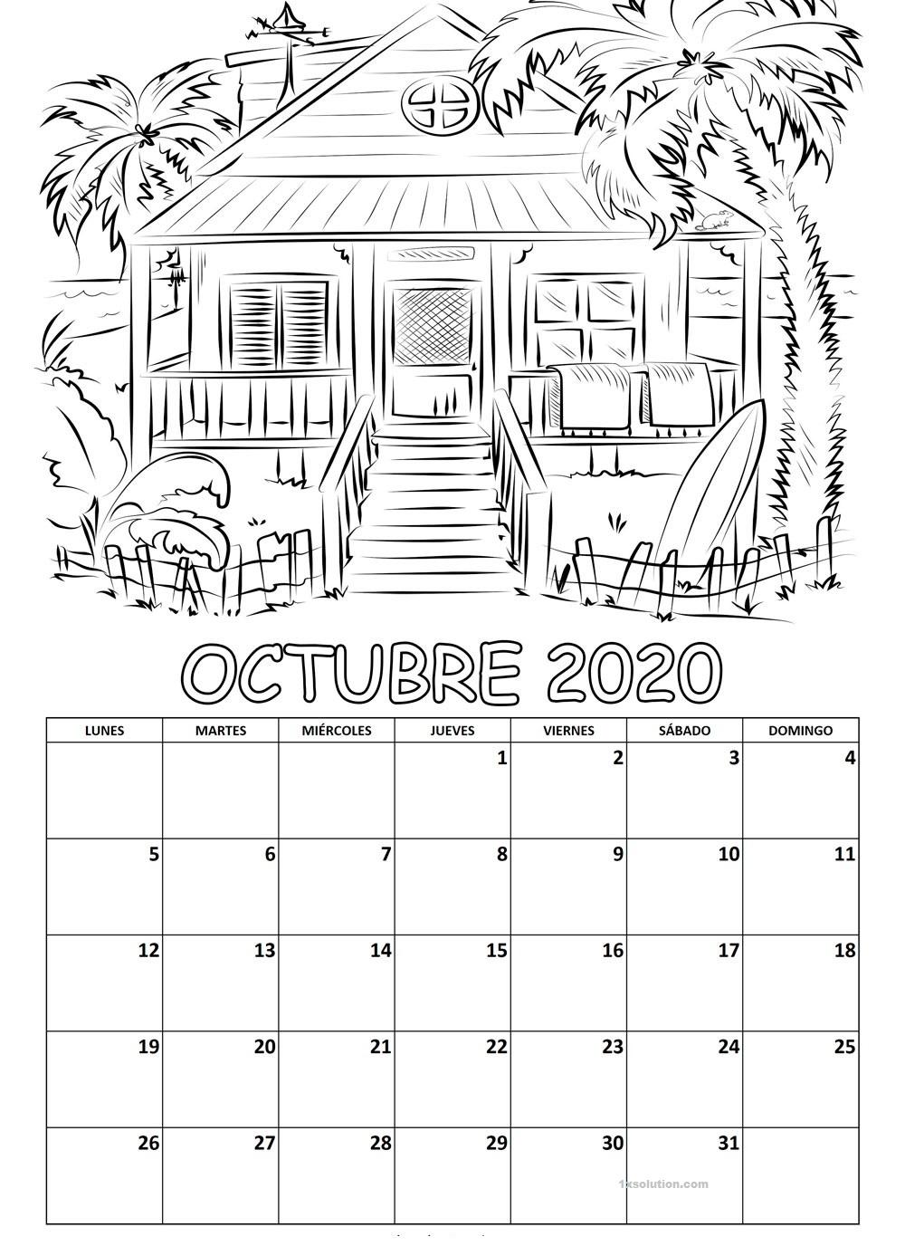 Calendario Octubre 2020 Chile