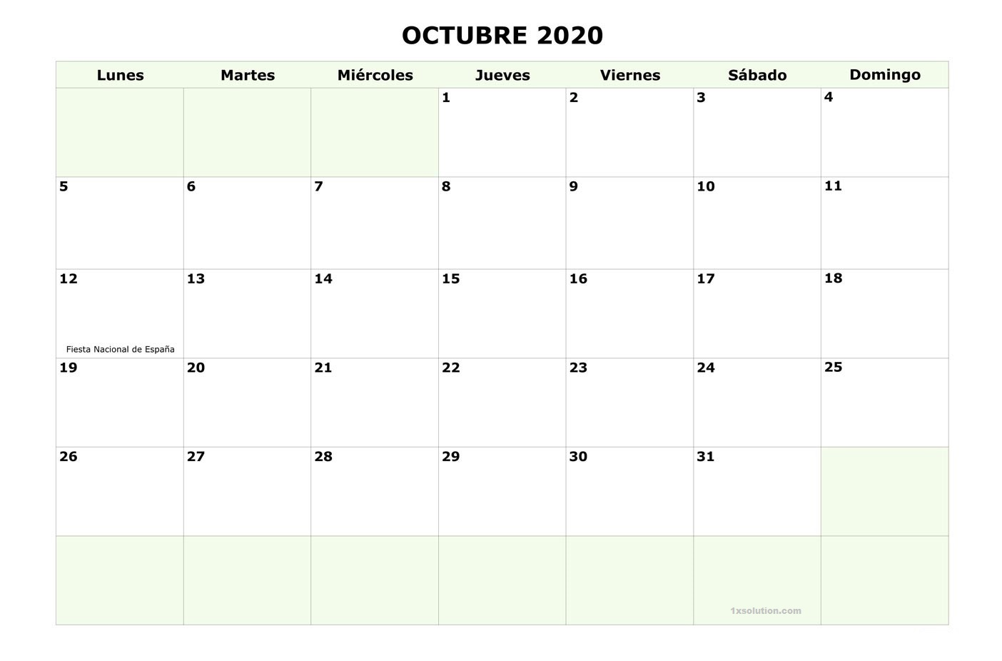 Calendario Octubre 2020 Con vacaciones