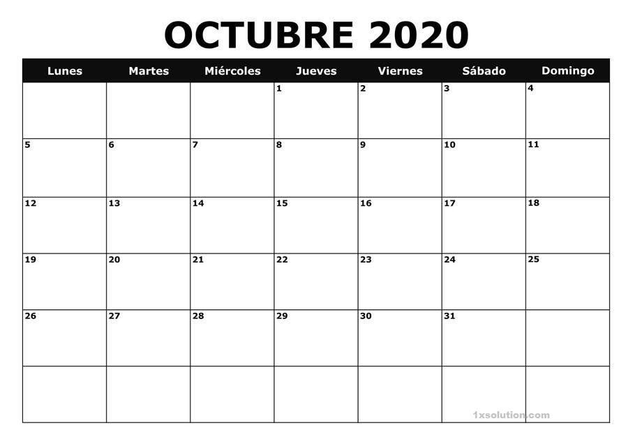 Calendario Octubre 2020 Festivales PDF