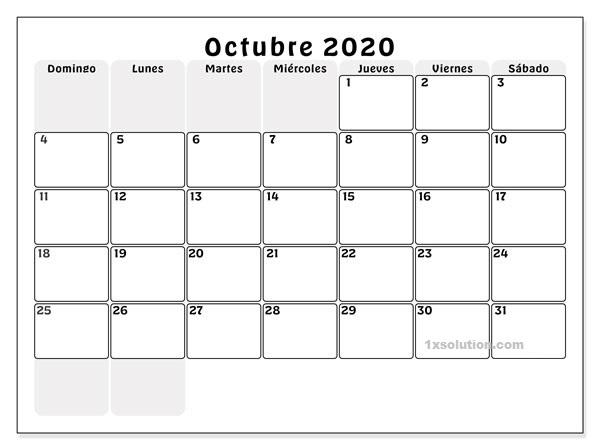 Calendario Octubre 2020 Impresión