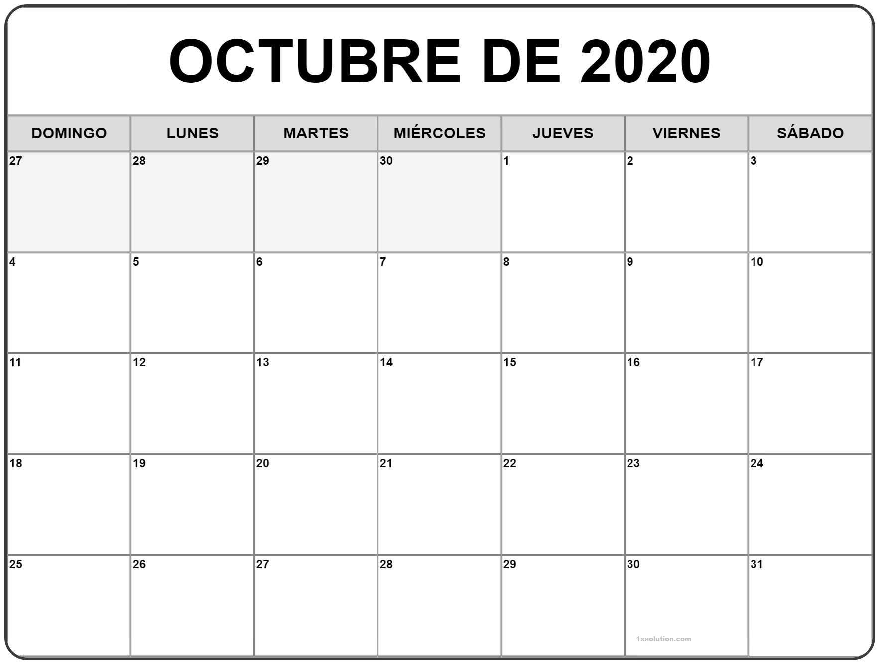 Calendario Octubre 2020 PDF