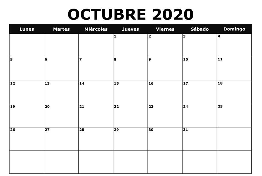 Calendario Octubre 2020 Para Imprimir Con vacaciones