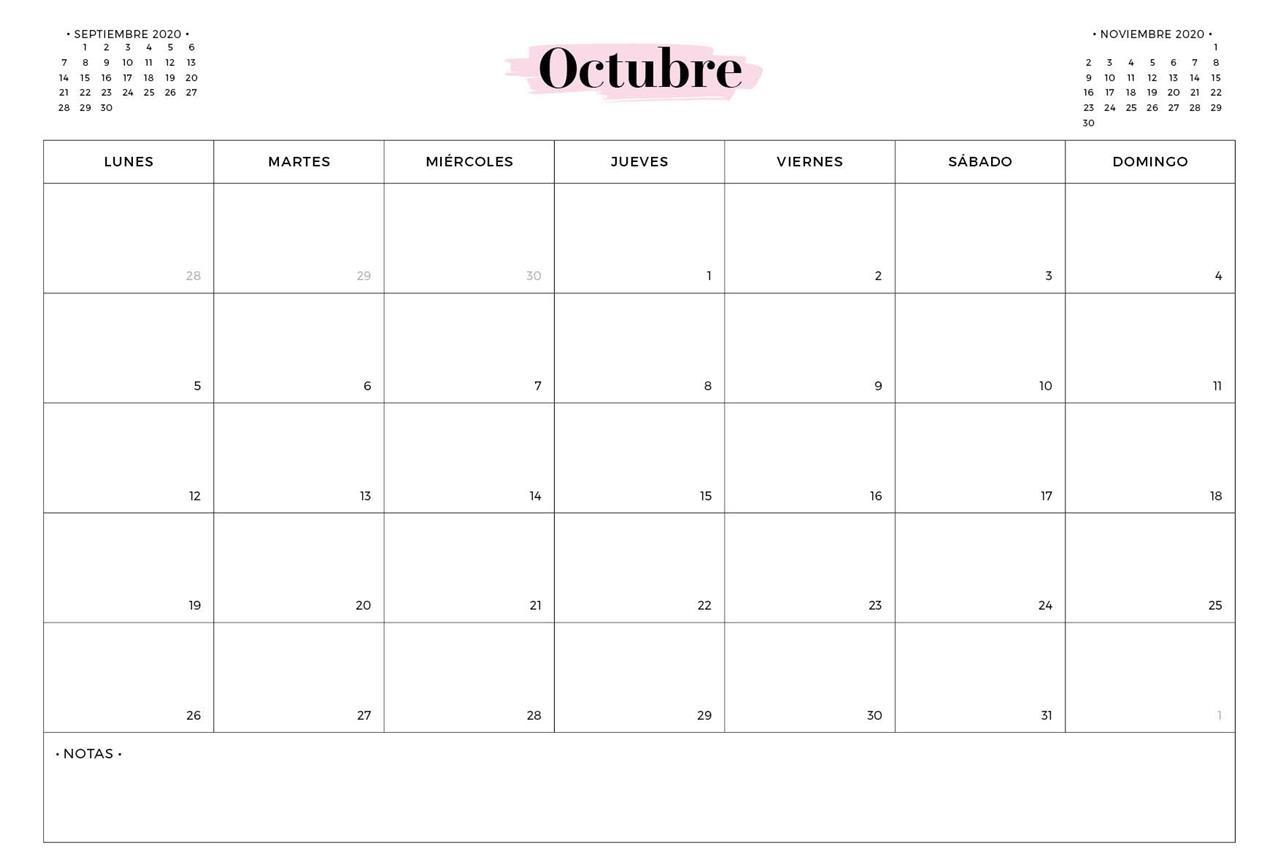 Calendario Octubre 2020 Para Imprimir Excel