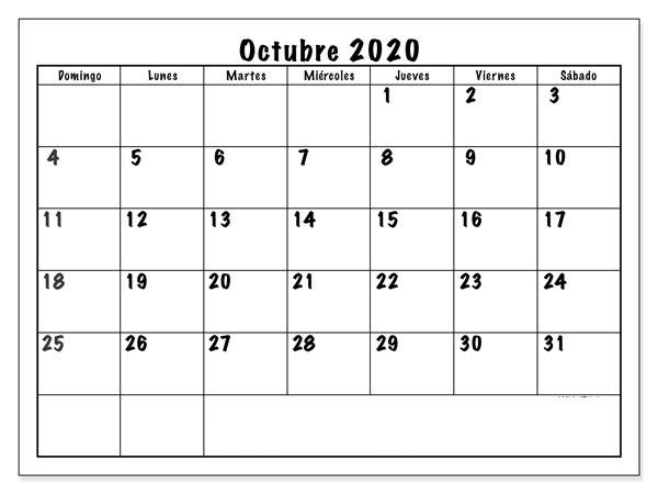 Calendario Octubre 2020 Para Imprimir PDF