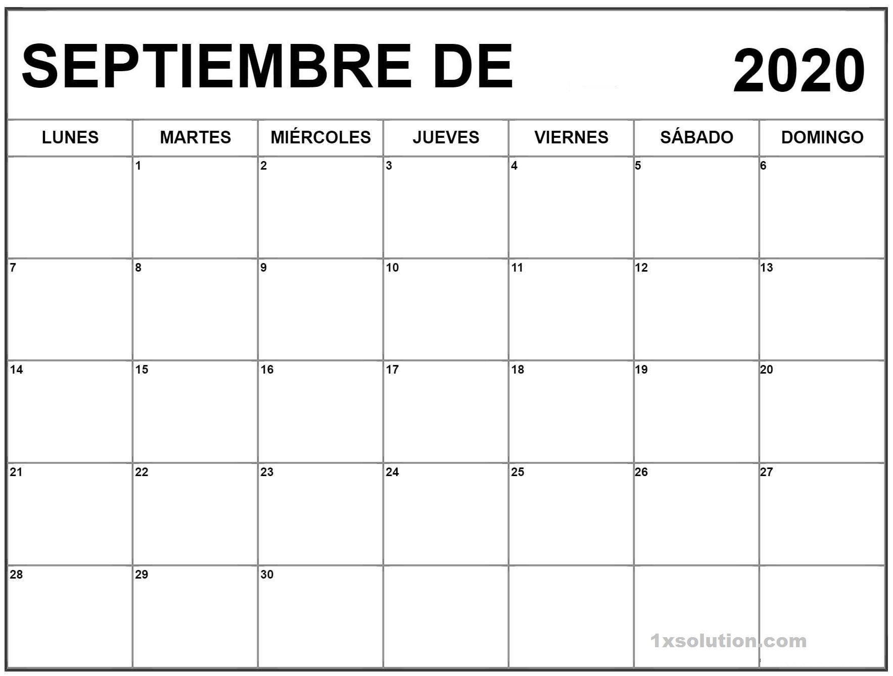 Calendario Septiembre 2020 Chile Impresión