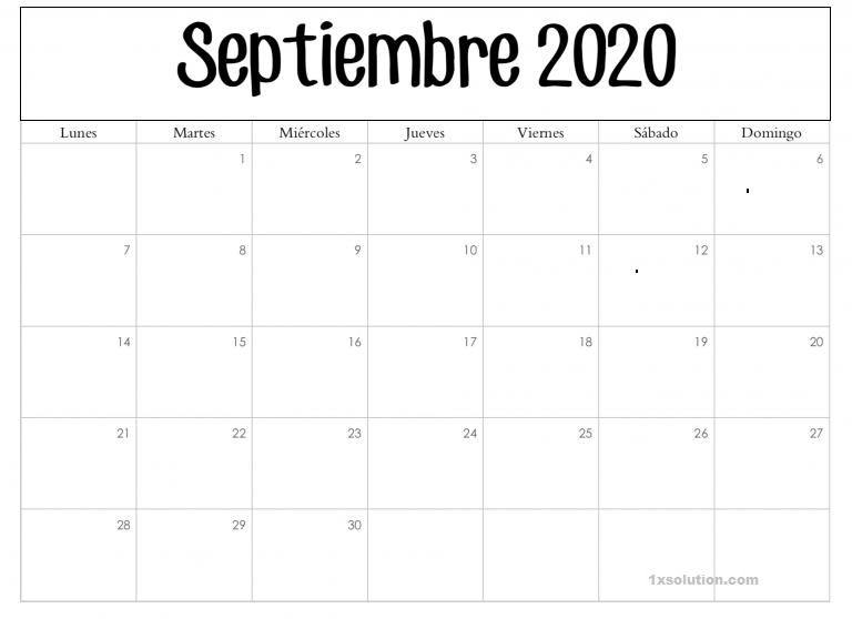 Calendario Septiembre 2020 Chile