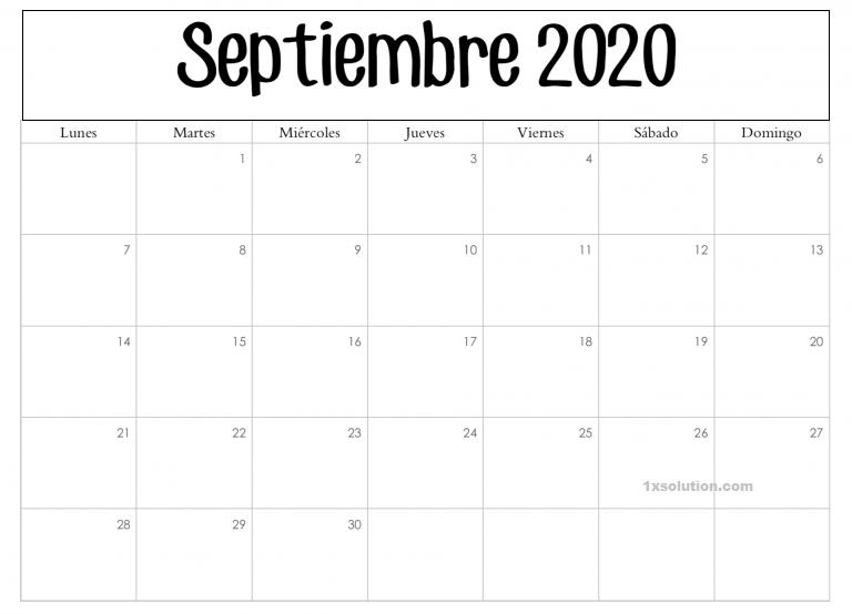 Calendario Septiembre 2020 Para Imprimir