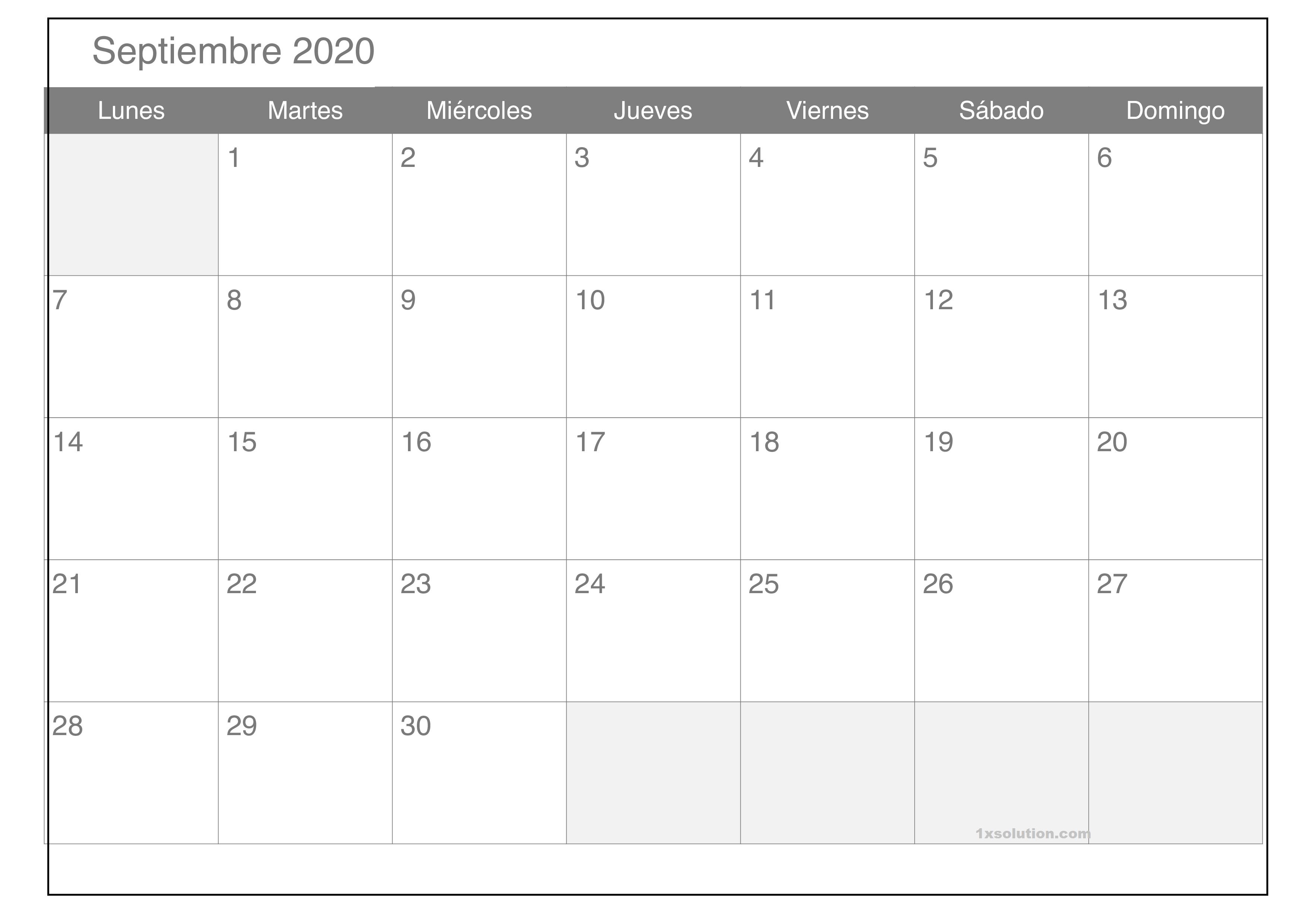 Calendario Septiembre 2020 Para Imprimir PDF