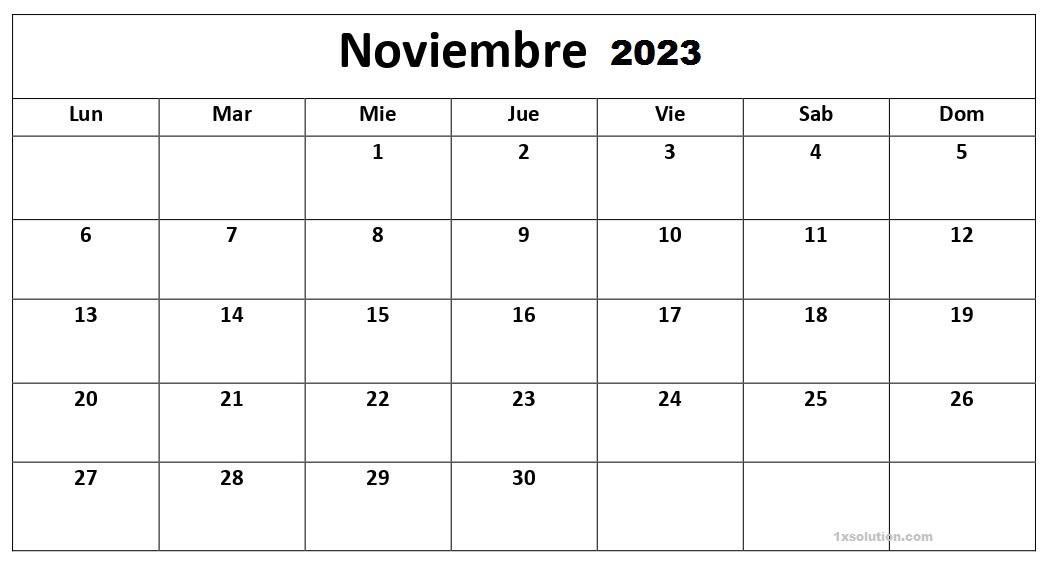 Colegio Calendario Noviembre 2023 Con Festivos