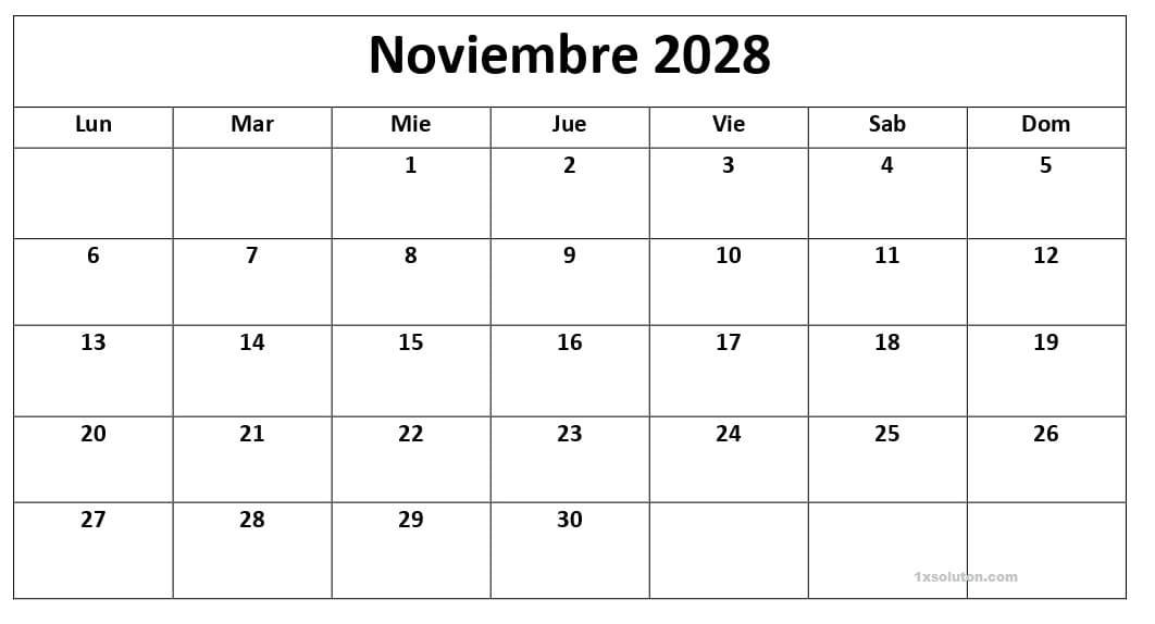 Colegio Calendario Noviembre 2028 Con Festivos