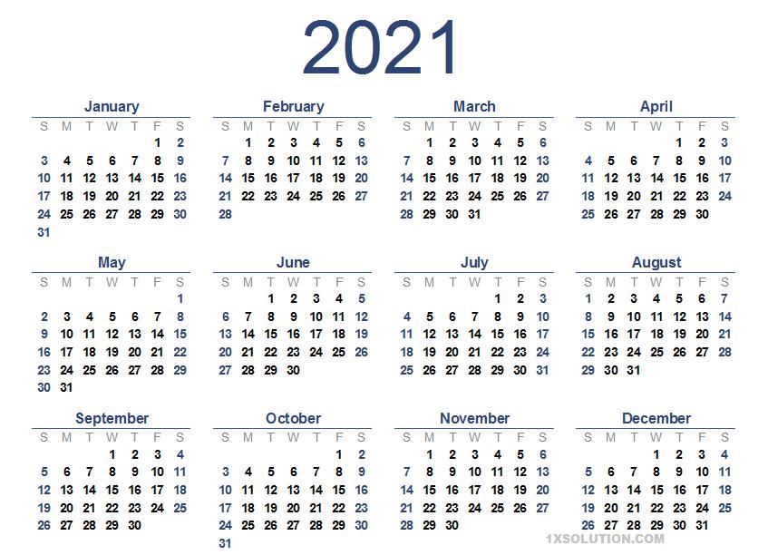 Daily 2021 Calendar