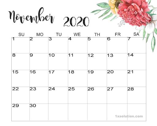 Daily November 2020 Calendar Cute
