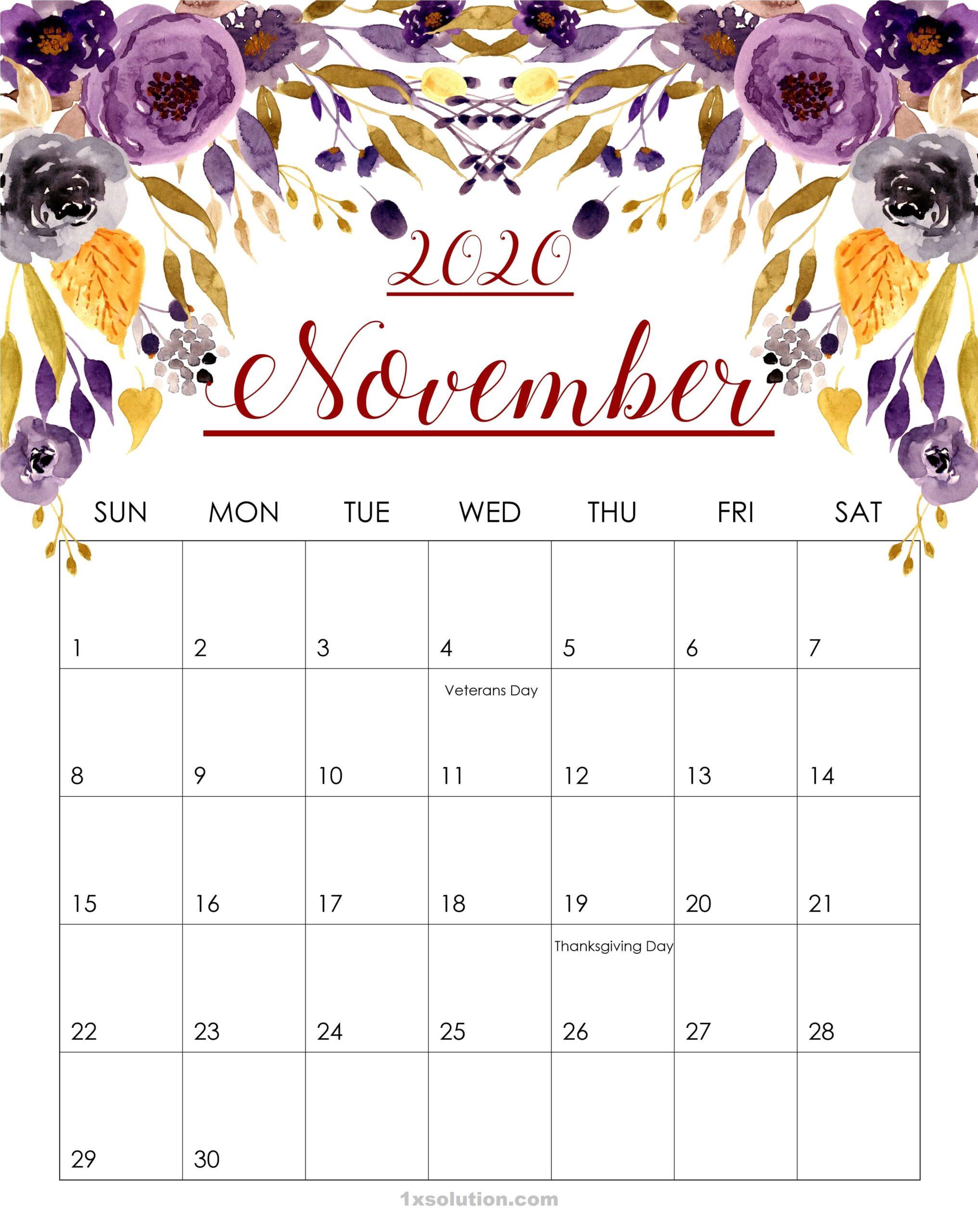 Daily November 2020 Calendar Floral