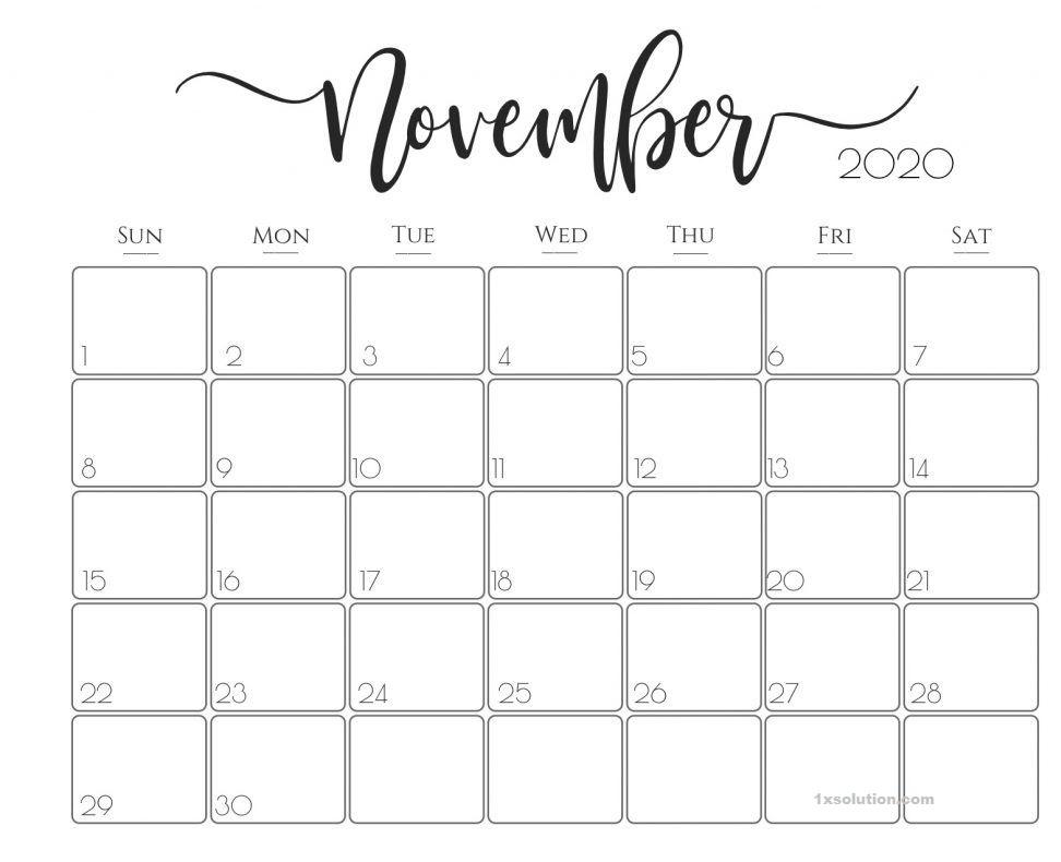 Daily November 2020 Calendar School