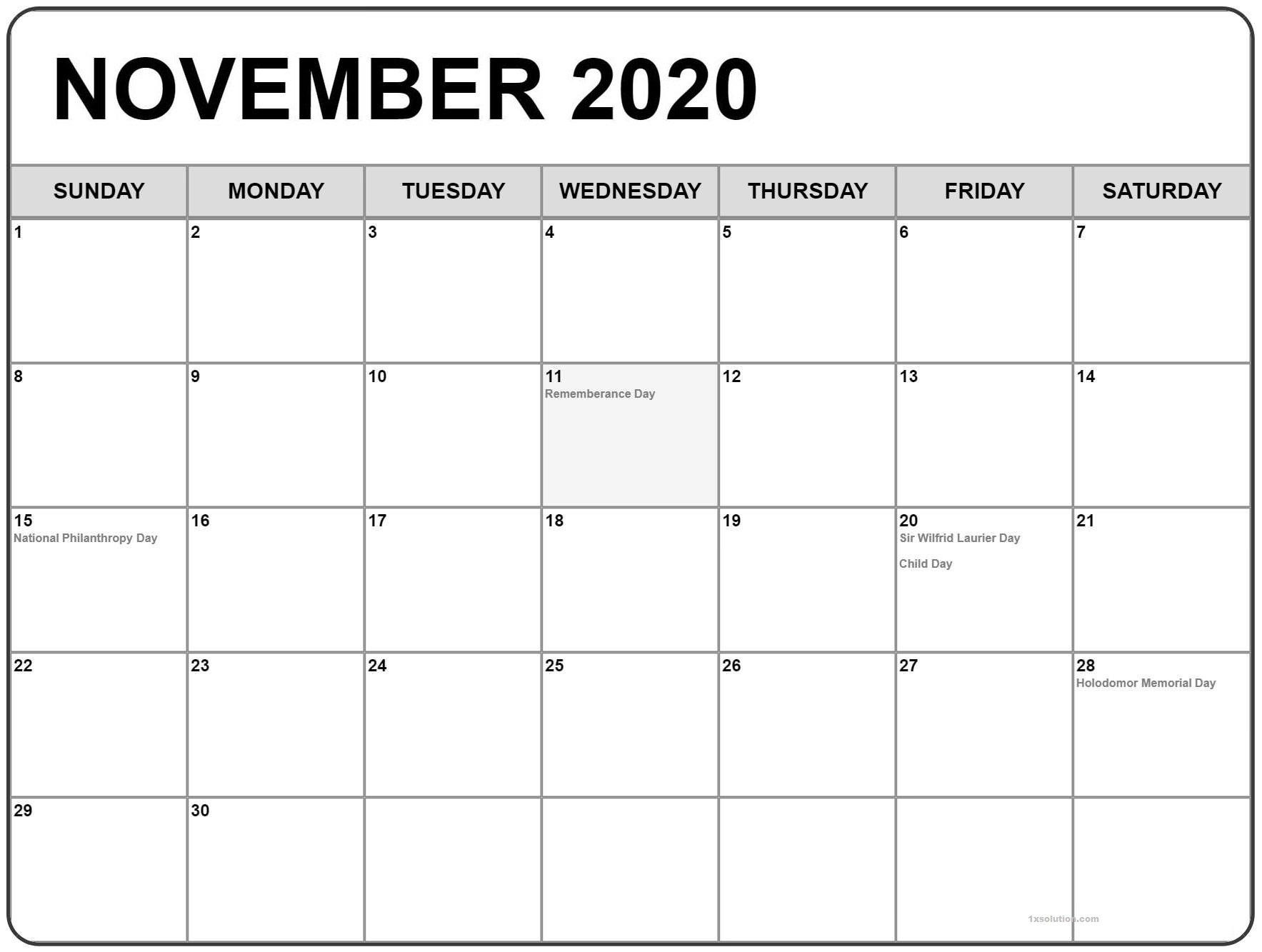 Daily November 2020 Calendar with Holidays