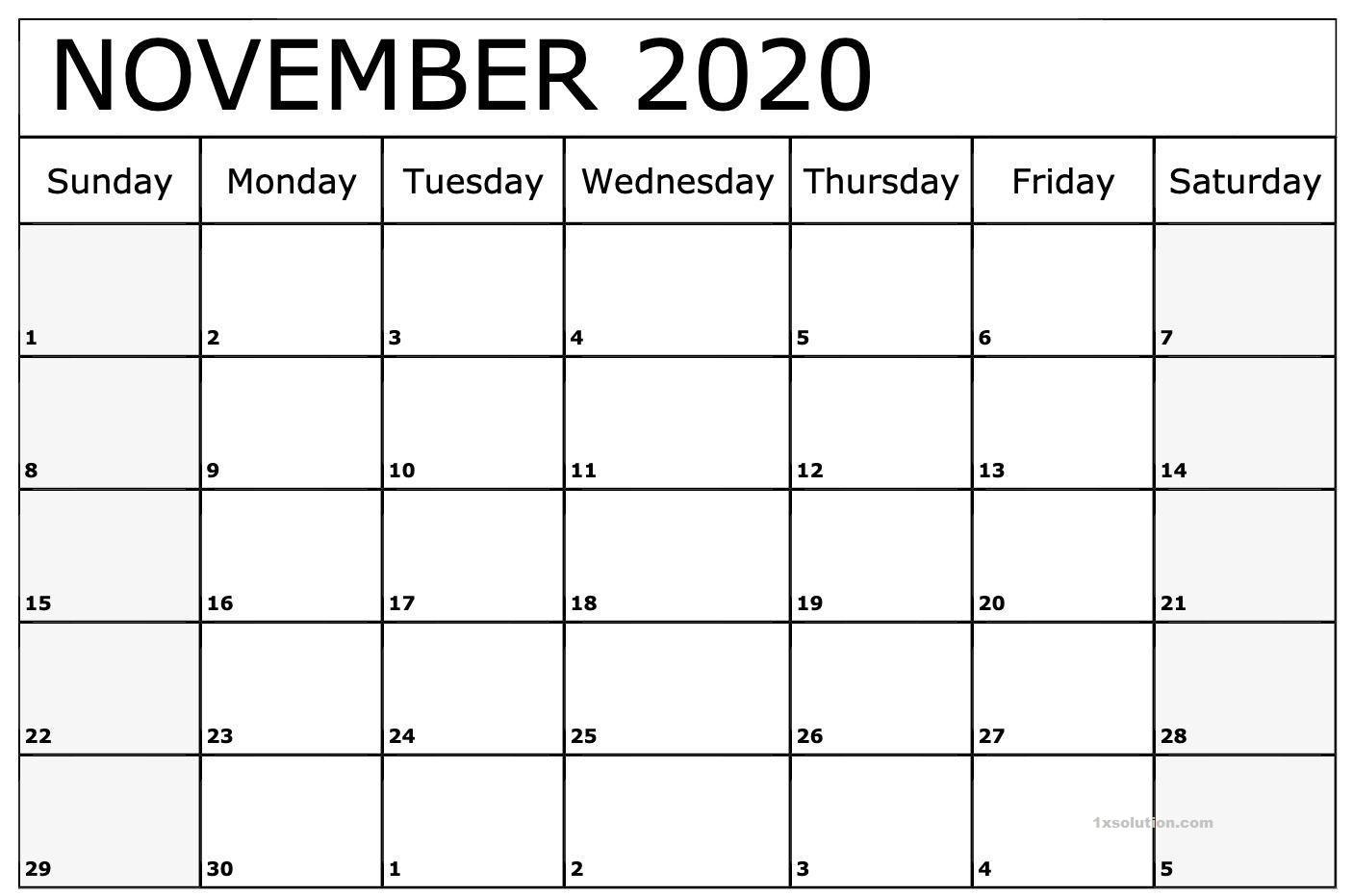 Daily November 2020 Calendar