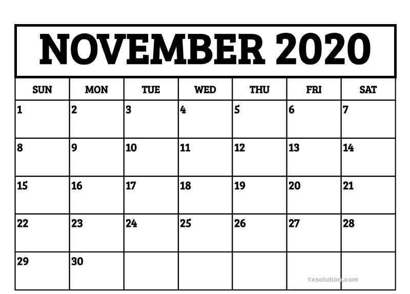 Daily November Calendar 2020