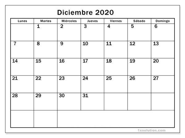 Editable Calendario Diciembre 2020 Argentina