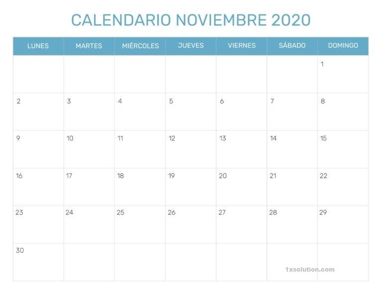 Editable Calendario Noviembre 2020 Con Festivos