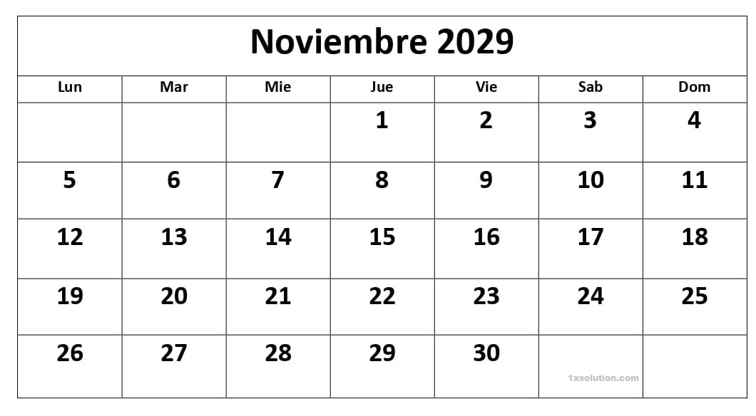 Editable Calendario Noviembre 2029 Chile