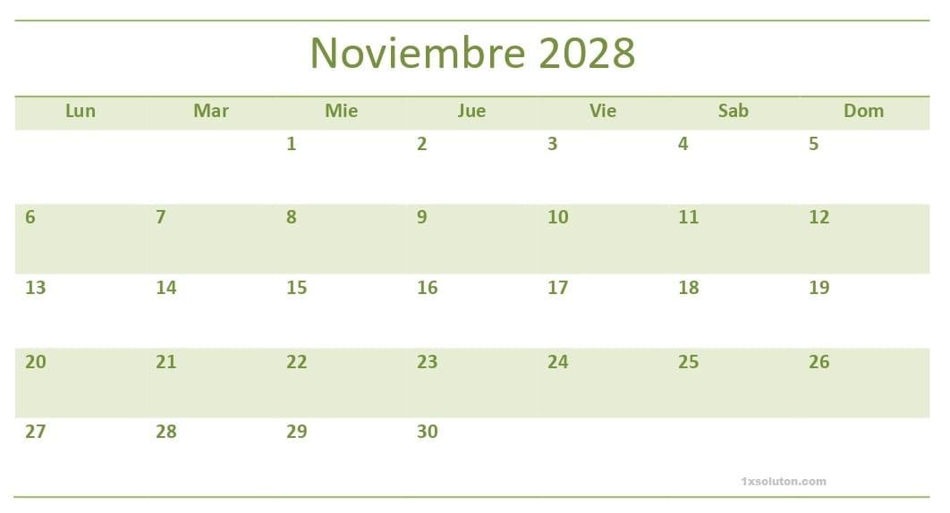 Examen Calendario Noviembre 2028 Para Imprimir