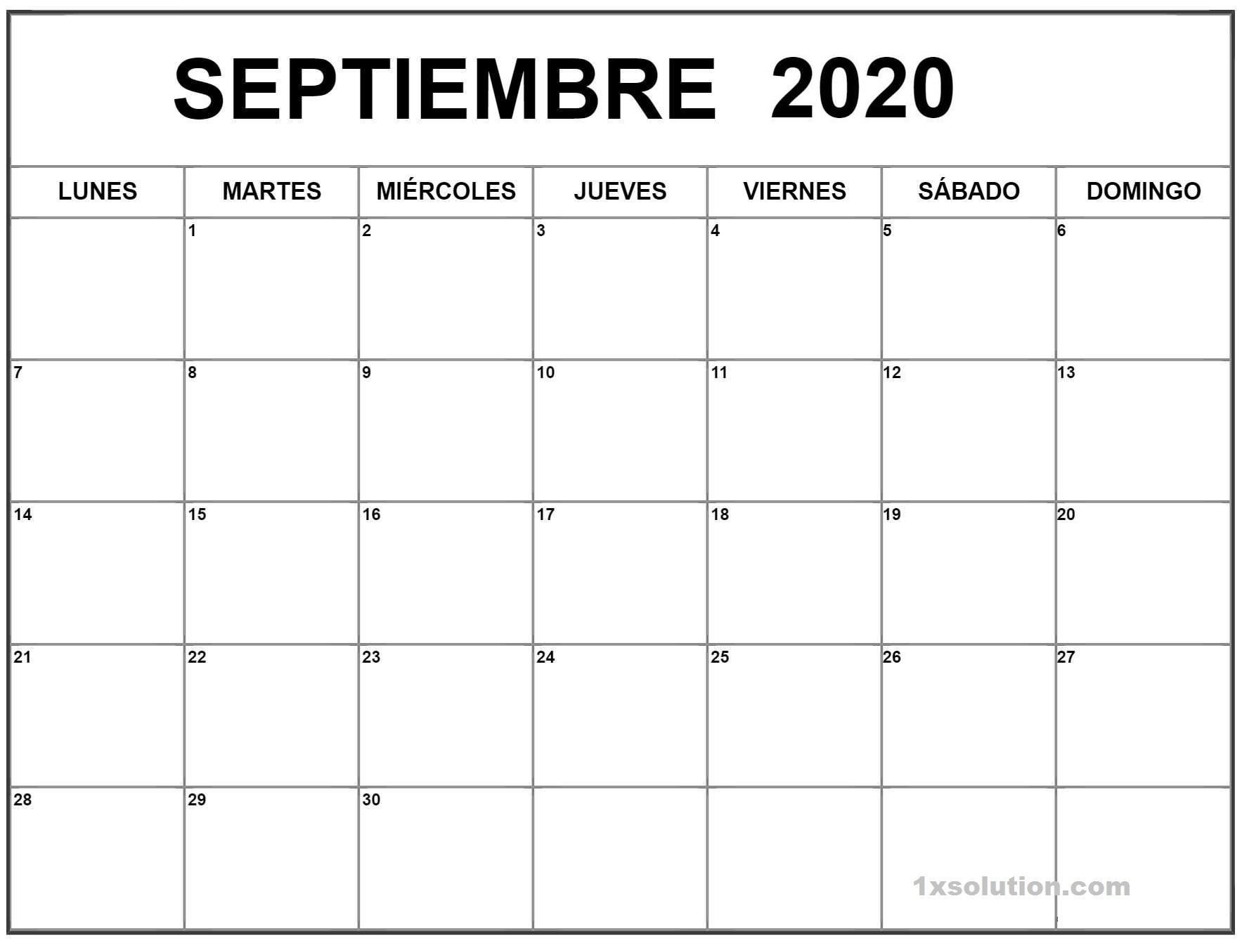 Excel Calendario Septiembre 2020 Argentina