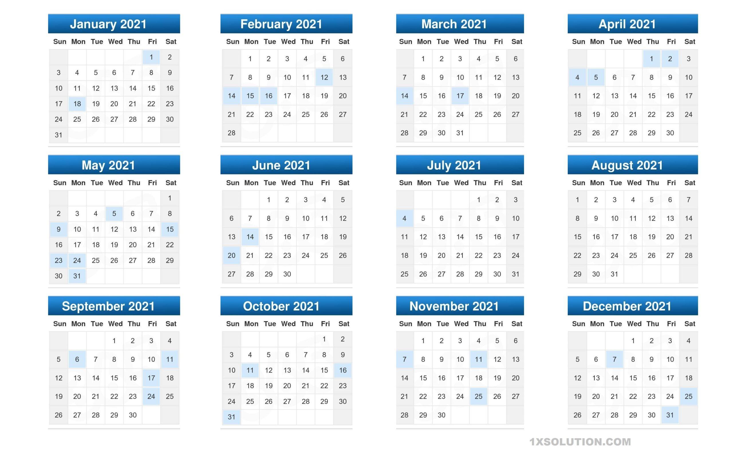 Free 2021 Daily Calendar PDF