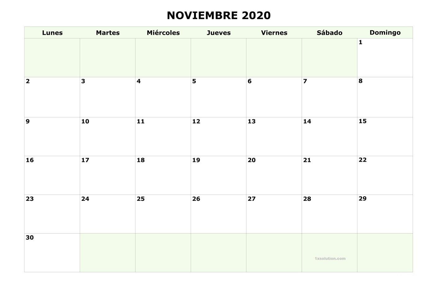 Gratis Calendario Noviembre 2020 Argentina