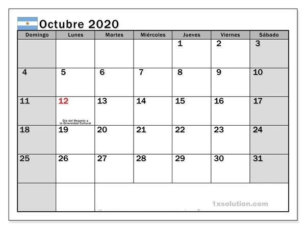 Gratis Calendario Octubre 2020 PDF