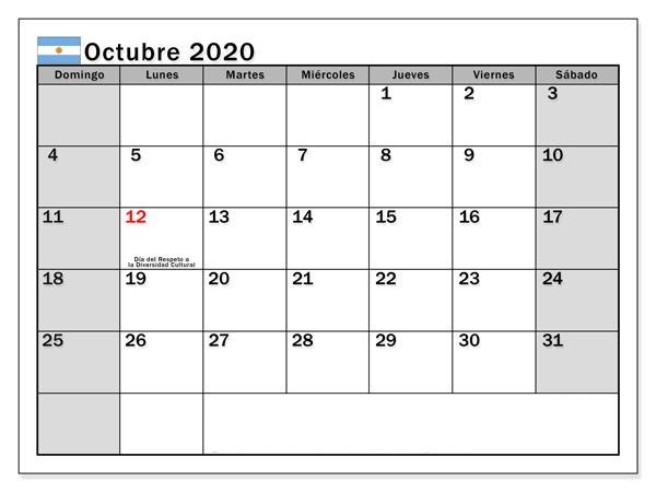 Gratis Calendario Octubre 2020 Para Imprimir