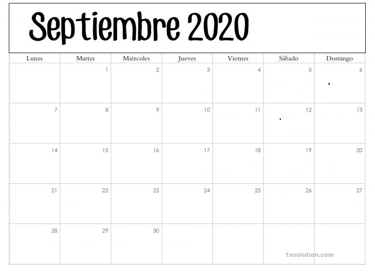 Calendario Septiembre 2020 Argentina