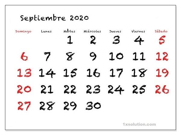 Gratis Calendario Septiembre 2020 Para Imprimir