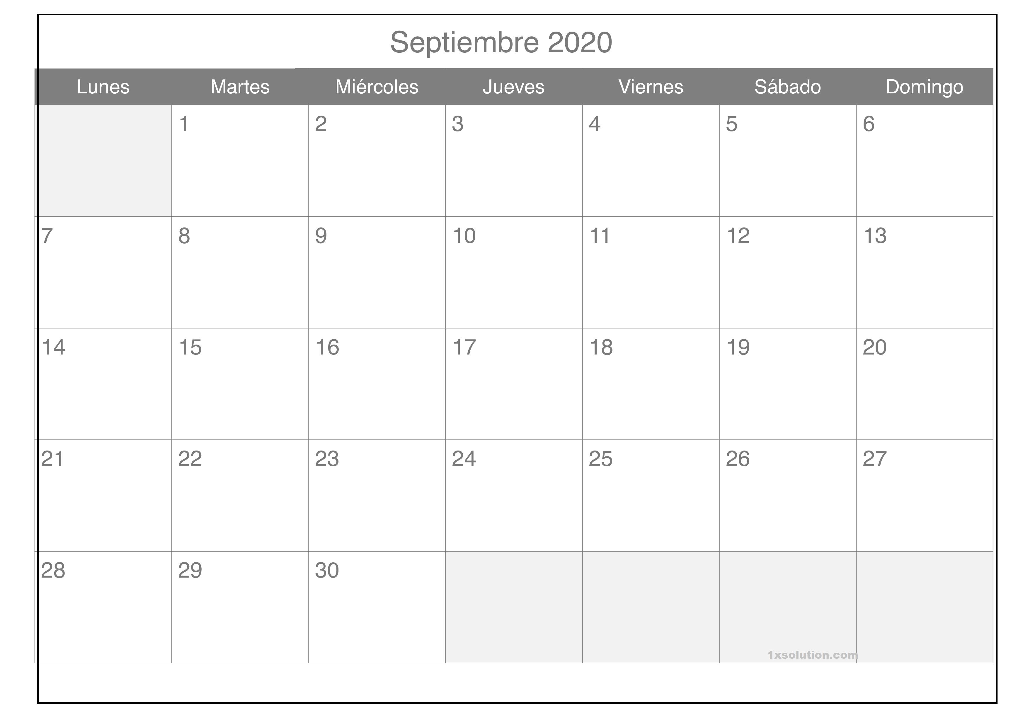 Impresión Calendario Septiembre 2020