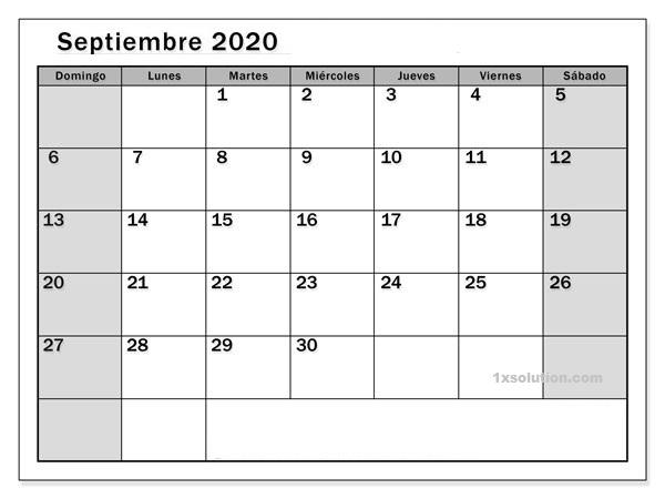 Imprimible Calendario Septiembre 2020 Chile
