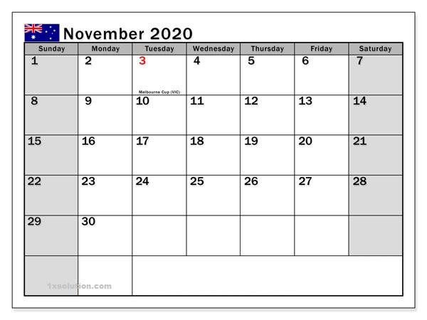 November 2020 Calendar Daily