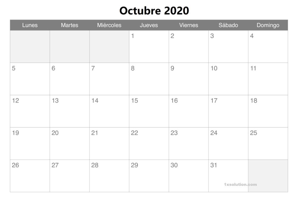 PDF Calendario Octubre 2020