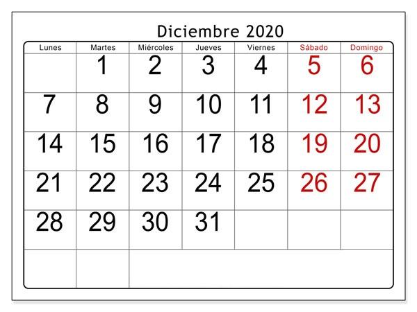 Paisaje Calendario Diciembre 2020 Para Imprimir