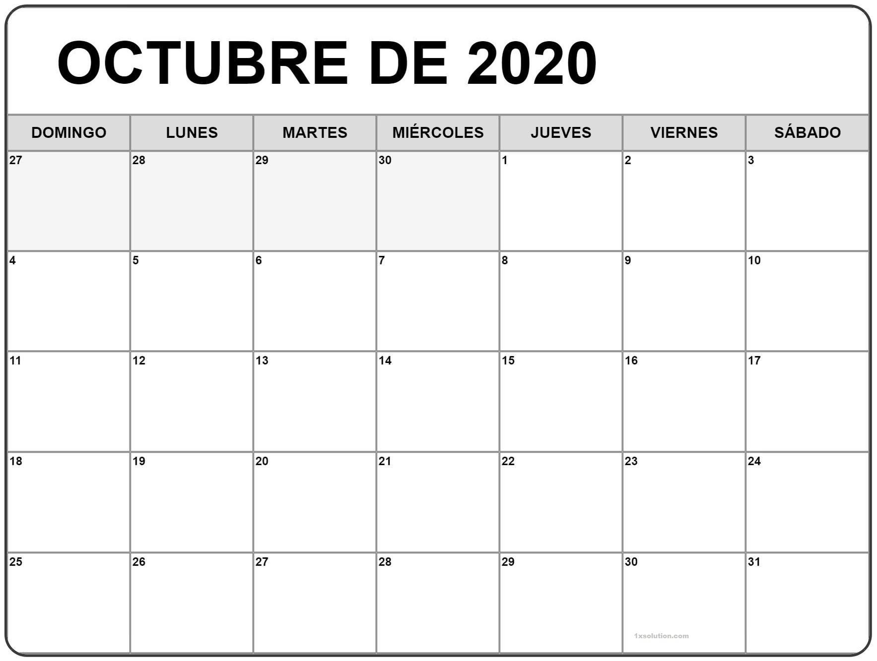 Paisaje Calendario Octubre 2020 Chile