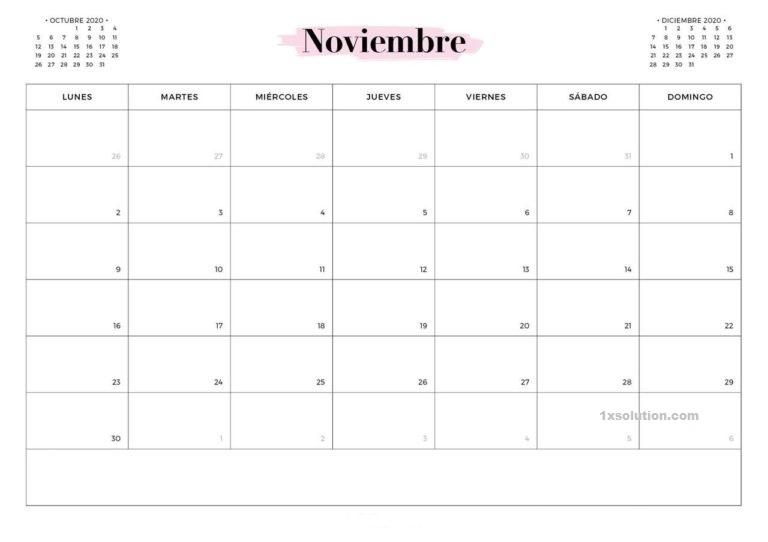 Plantilla Calendario Noviembre 2020 Para Imprimir