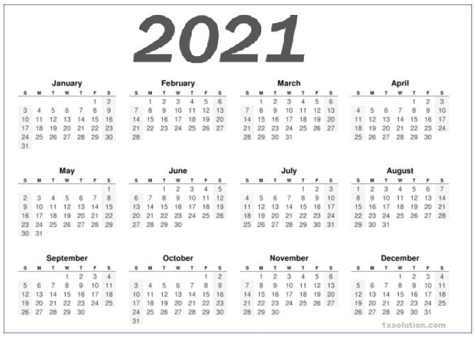2021 Calendar Monthly