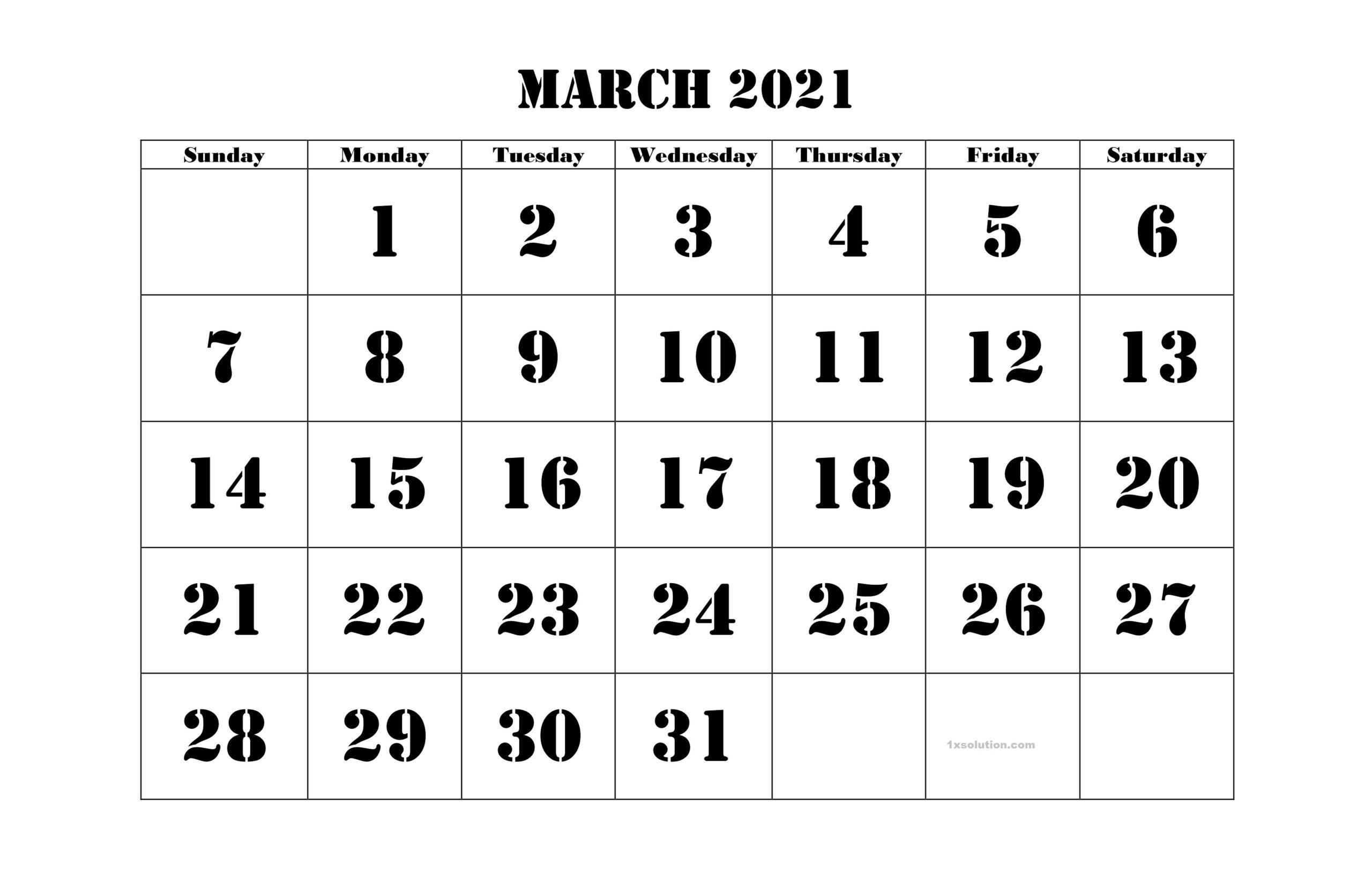 2021 March Printable Calendar