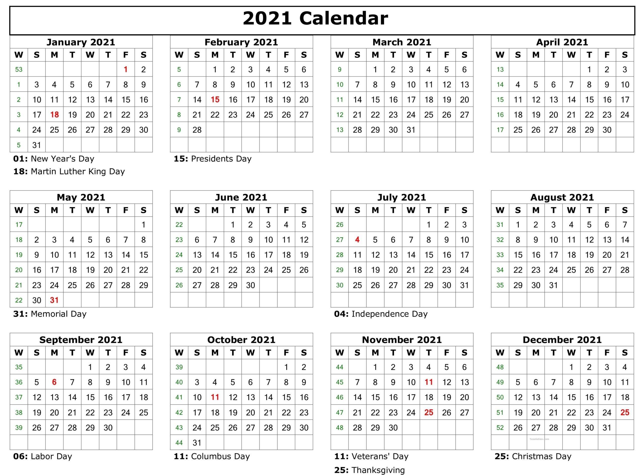 Calendar 2021 PDF School